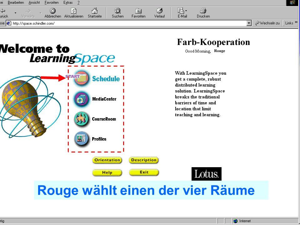 Problem Kollaboration Lernen elernen telecolonline Learning Space telecol online Präsentation vom 7.2.2001 35 von 50 24.02.2001 Rouge identifiziert sich als Kursteilnehmer