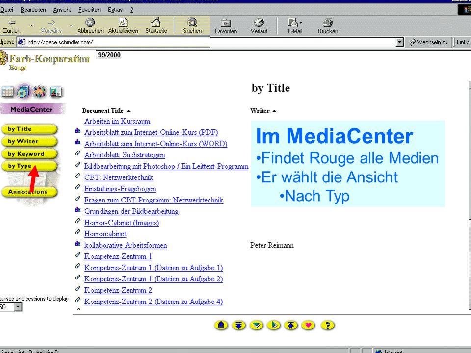 Problem Kollaboration Lernen elernen telecolonline Learning Space telecol online Präsentation vom 7.2.2001 41 von 50 24.02.2001 Zurück im Schedule Hier orientier sich Rouge darüber Was zu machen ist Was er gemacht hat Was demnächst fällig ist Hier wird Rouge auf ein Dokument im MediaCenter verwiesen
