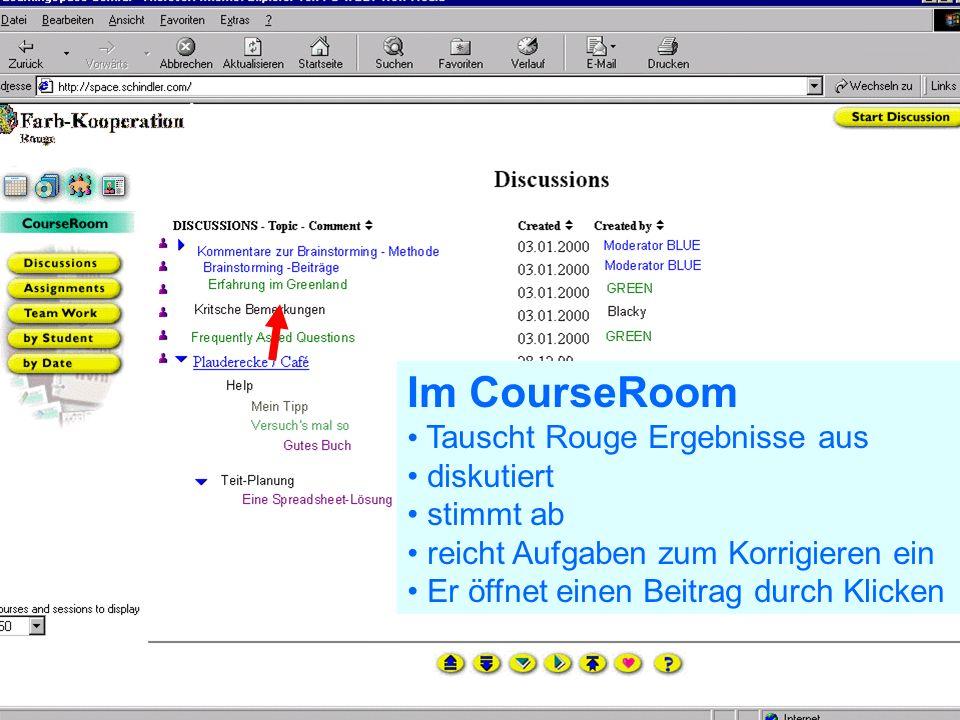 Problem Kollaboration Lernen elernen telecolonline Learning Space telecol online Präsentation vom 7.2.2001 45 von 50 24.02.2001 Zurück im Schedule Rouge wird zu einer Diskussion eingeladen Er geht in den CourseRoom