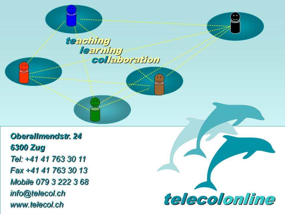 Problem Kollaboration Lernen elernen telecolonline Learning Space telecol online Präsentation vom 7.2.2001 49 von 50 24.02.2001 Durch geschickte Moderation entsteht aus individuellen Beiträgen ein grosses Ganzes