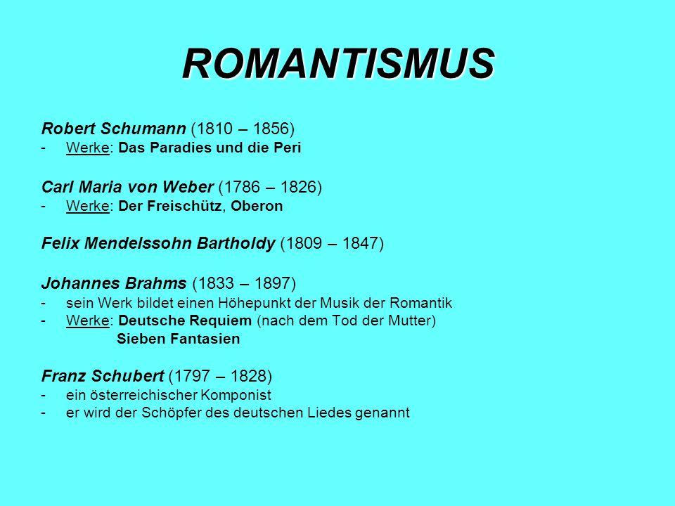 NEOROMANTISMUS Richard Wagner (1813 – 1883) -ein deutscher Komponist, Dramatiker, Dichter, Schriftsteller, Theaterregisseur und Dirigent -Werke: Die Hochzeit (http://www.youtube.com/watch?v=YB5S8KII3KE)http://www.youtube.com/watch?v=YB5S8KII3KE Der fliegende Holländer Lohengrin Tannhäuser Der Ring der Nibelungen Tristan und Isolde Parzifal