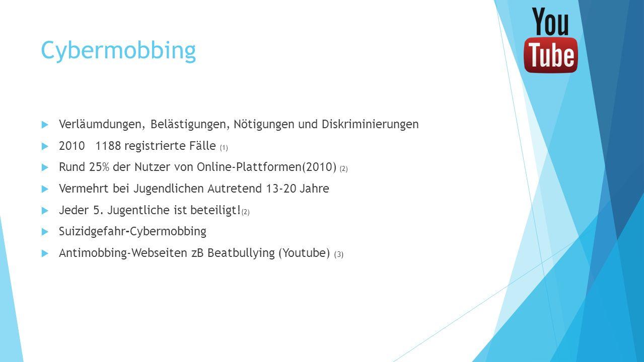 Cybermobbing Verläumdungen, Belästigungen, Nötigungen und Diskriminierungen 2010 1188 registrierte Fälle (1) Rund 25% der Nutzer von Online-Plattforme