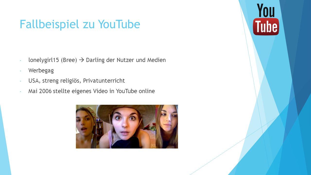 Fallbeispiel zu YouTube - lonelygirl15 (Bree) Darling der Nutzer und Medien - Werbegag - USA, streng religiös, Privatunterricht - Mai 2006 stellte eig