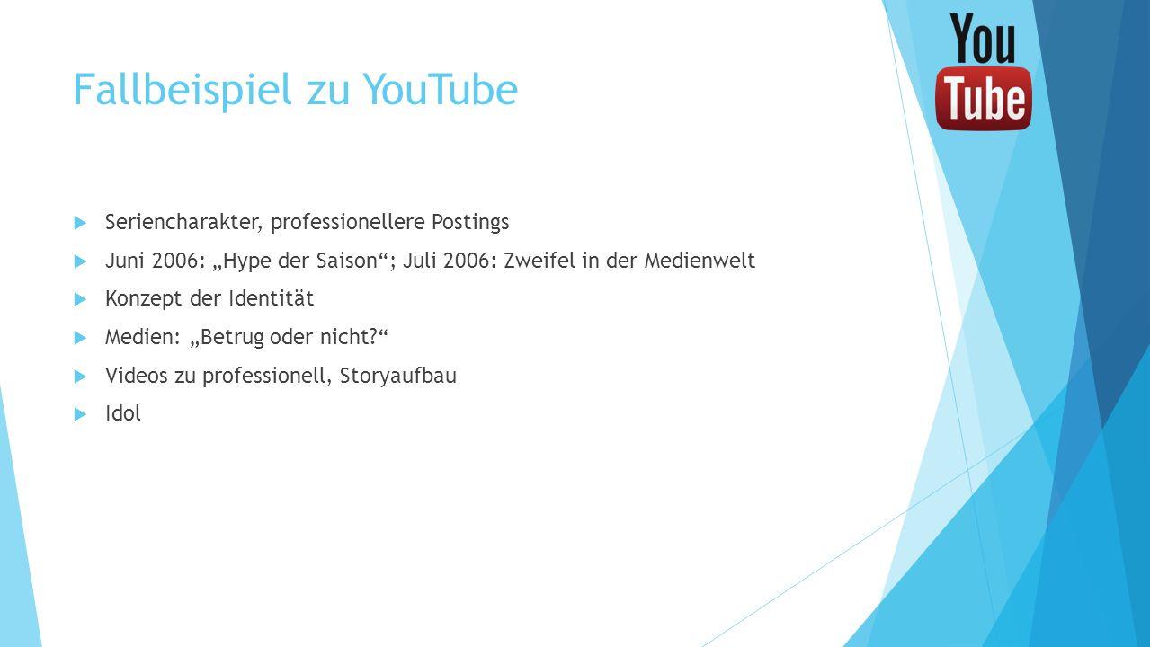 Fallbeispiel zu YouTube Seriencharakter, professionellere Postings Juni 2006: Hype der Saison; Juli 2006: Zweifel in der Medienwelt Konzept der Identi