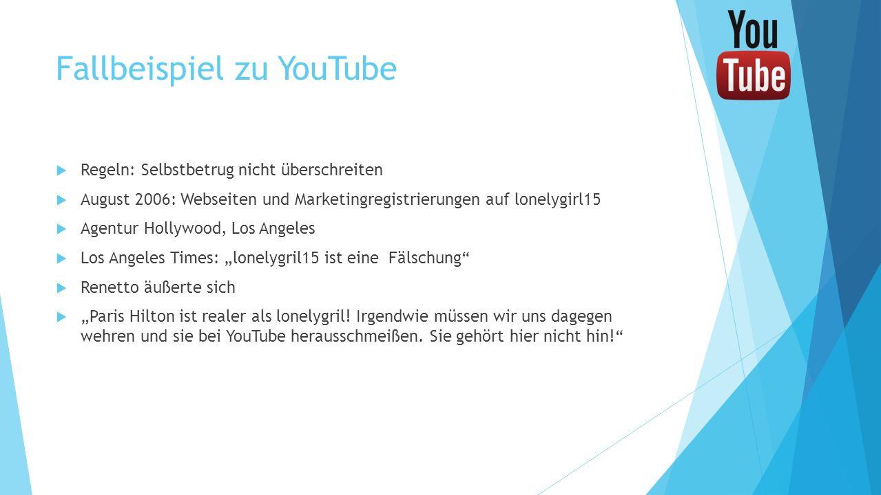 Fallbeispiel zu YouTube Regeln: Selbstbetrug nicht überschreiten August 2006: Webseiten und Marketingregistrierungen auf lonelygirl15 Agentur Hollywoo