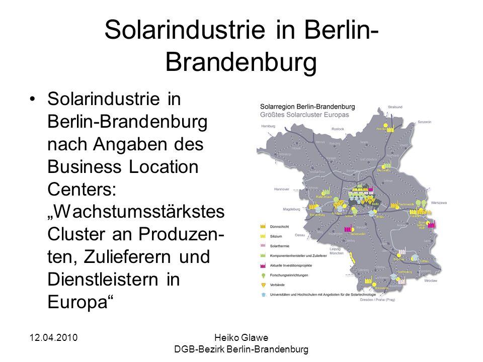 12.04.2010Heiko Glawe DGB-Bezirk Berlin-Brandenburg Solarindustrie in Berlin- Brandenburg Solarindustrie in Berlin-Brandenburg nach Angaben des Busine