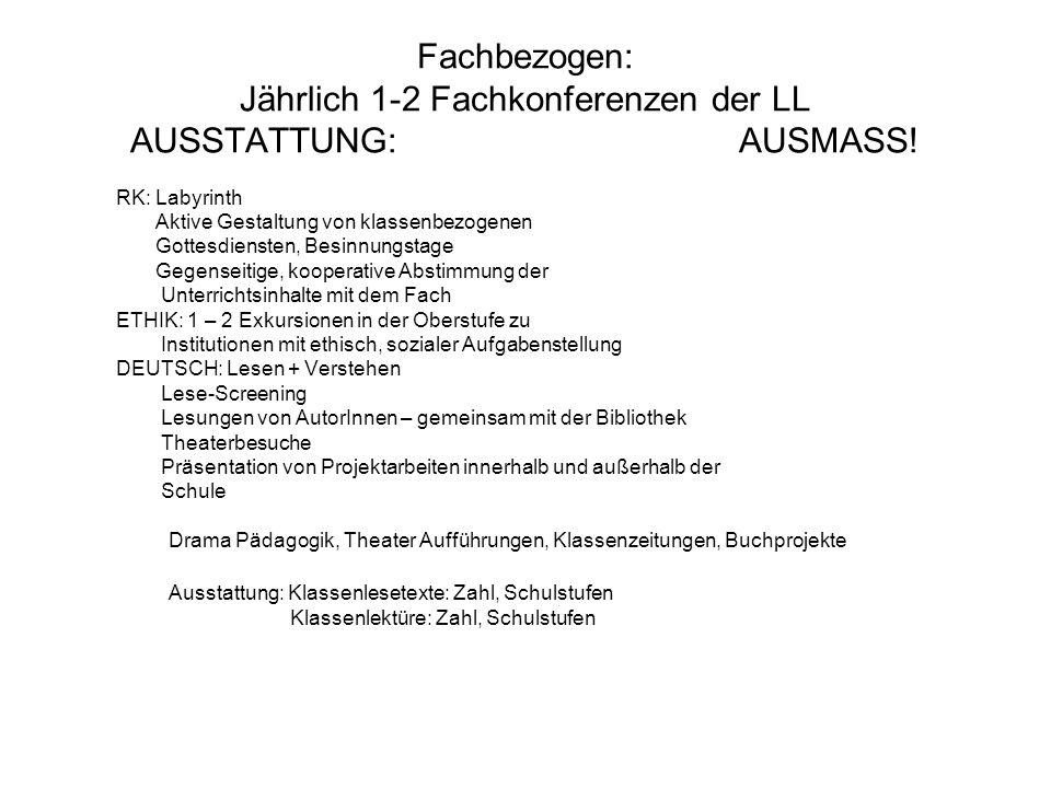 Fachbezogen: Jährlich 1-2 Fachkonferenzen der LL AUSSTATTUNG: AUSMASS.