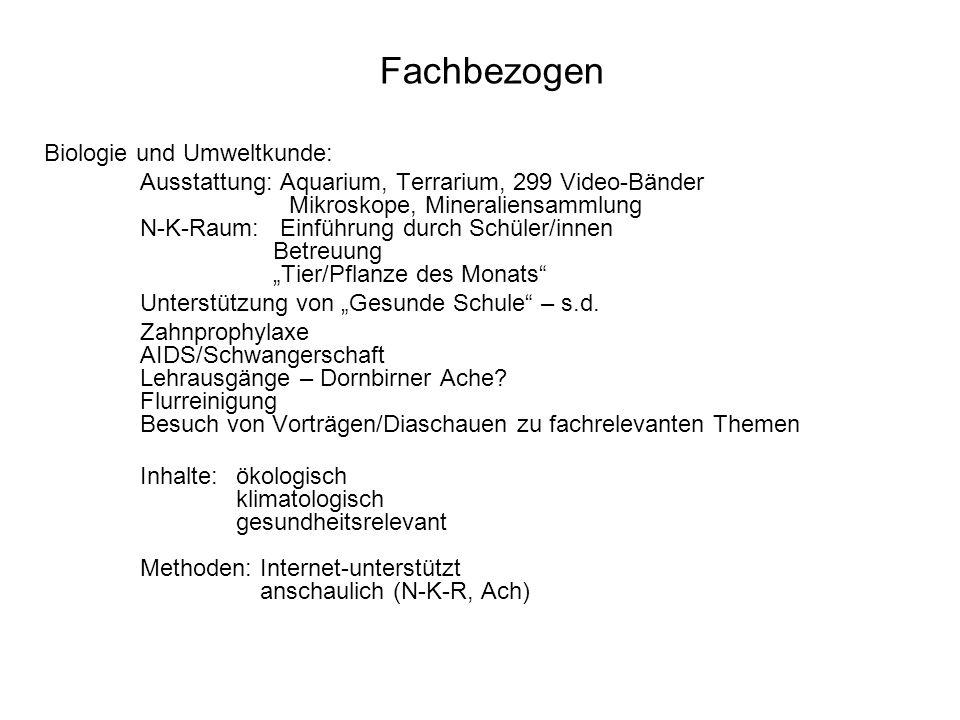 Fachbezogen Biologie und Umweltkunde: Ausstattung: Aquarium, Terrarium, 299 Video-Bänder Mikroskope, Mineraliensammlung N-K-Raum: Einführung durch Sch