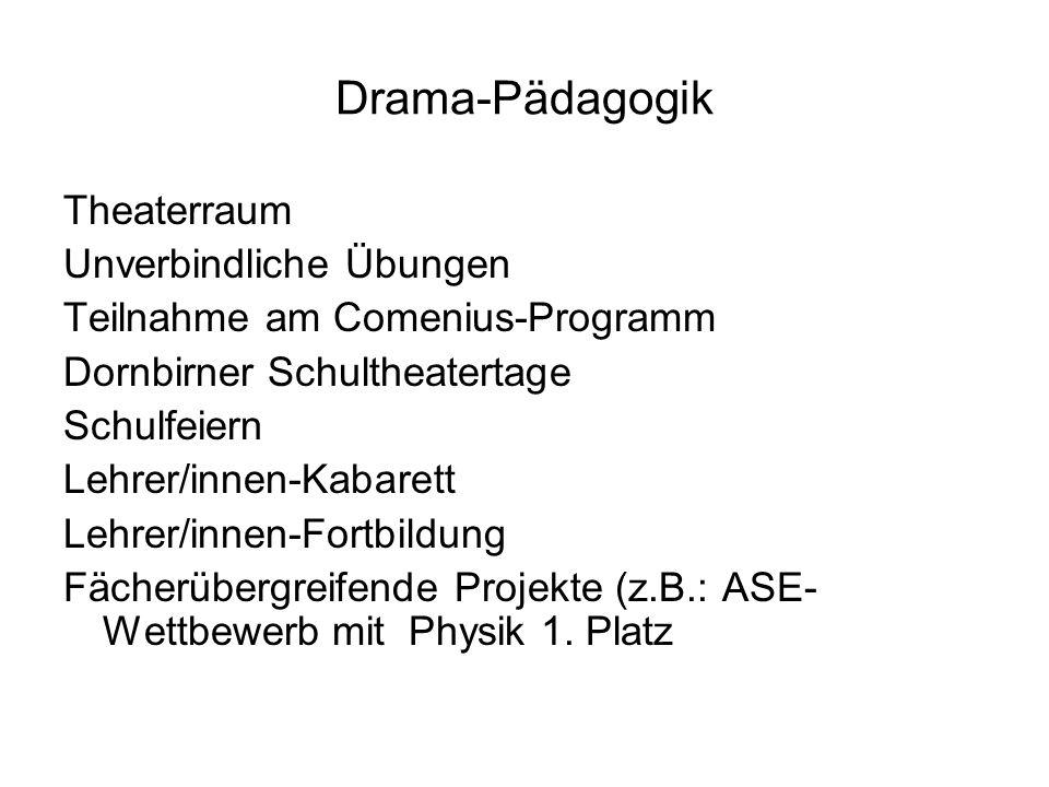 Drama-Pädagogik Theaterraum Unverbindliche Übungen Teilnahme am Comenius-Programm Dornbirner Schultheatertage Schulfeiern Lehrer/innen-Kabarett Lehrer