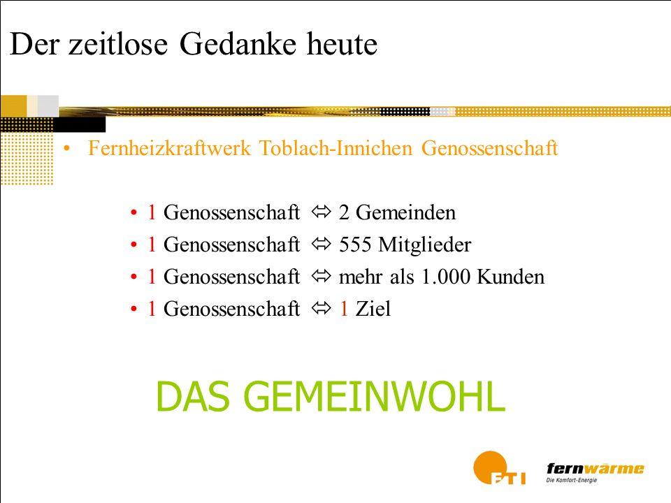 Der zeitlose Gedanke heute Fernheizkraftwerk Toblach-Innichen Genossenschaft 1 Genossenschaft 2 Gemeinden 1 Genossenschaft 555 Mitglieder 1 Genossensc