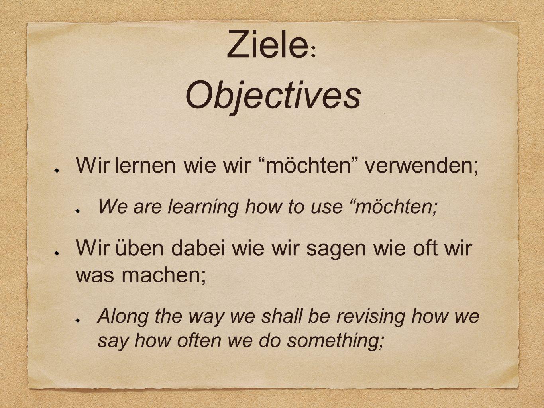 Ziele : Objectives Wir lernen wie wir möchten verwenden; We are learning how to use möchten; Wir üben dabei wie wir sagen wie oft wir was machen; Along the way we shall be revising how we say how often we do something;