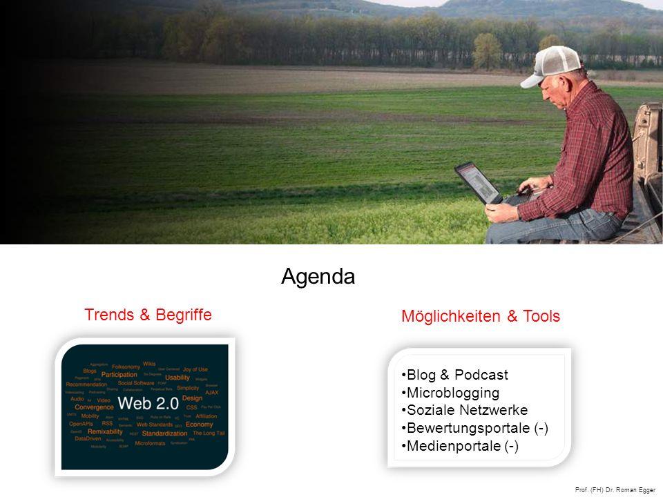 Trends & Begriffe Möglichkeiten & Tools Blog & Podcast Microblogging Soziale Netzwerke Bewertungsportale (-) Medienportale (-) Agenda