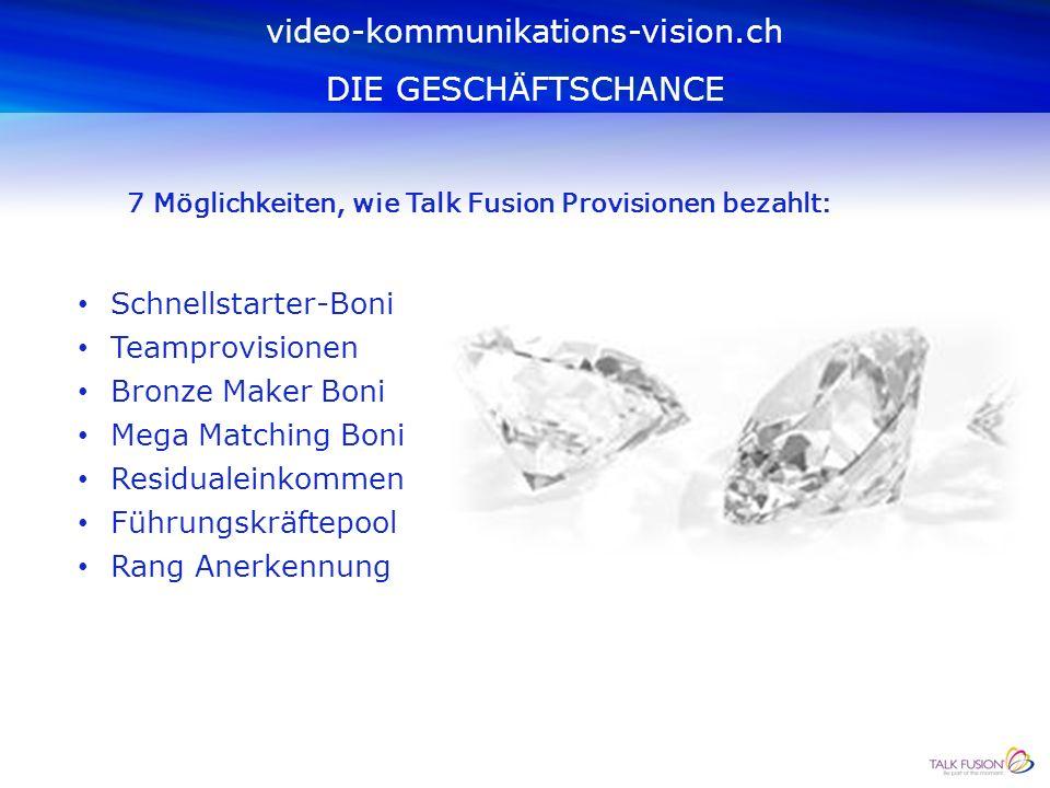 video-kommunikations-vision.ch DIE GESCHÄFTSCHANCE Mit dem weltweit ersten sofort auszahlenden Provisionsplan erhalten Sie als GeschäftspartnerIn Ihre