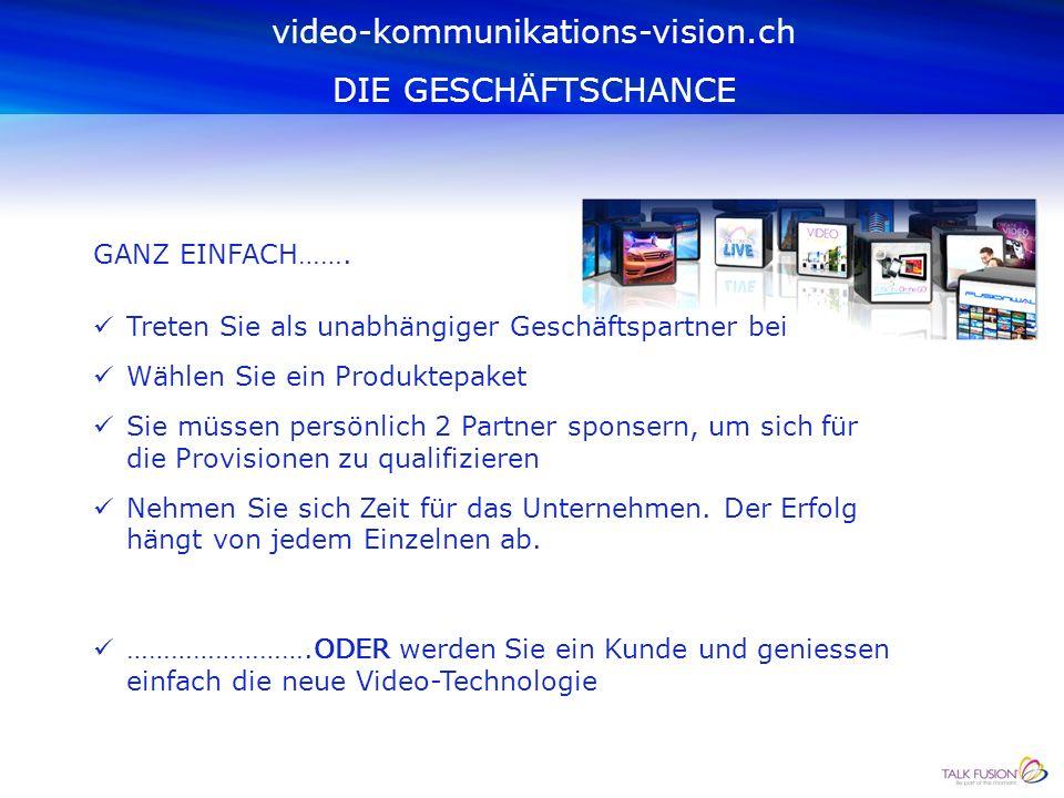 WAS MUSS ICH TUN, UM DAZU ZU GEHÖREN? video-kommunikations-vision.ch DIE GESCHÄFTSCHANCE
