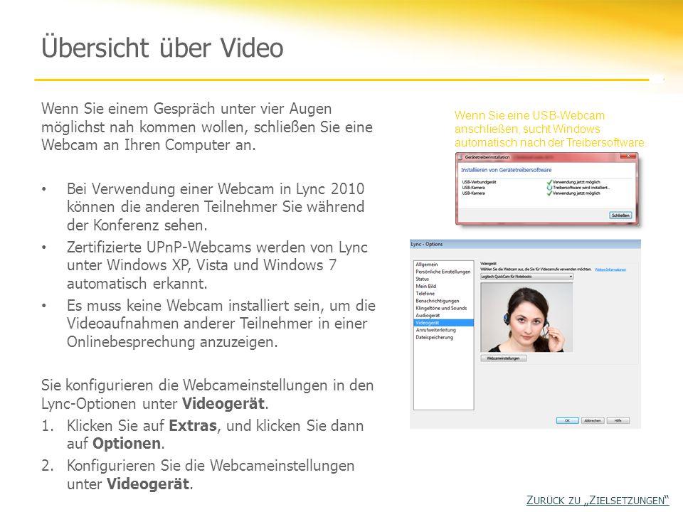 Übersicht über Video Wenn Sie einem Gespräch unter vier Augen möglichst nah kommen wollen, schließen Sie eine Webcam an Ihren Computer an. Bei Verwend