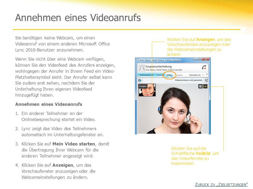 Sie benötigen keine Webcam, um einen Videoanruf von einem anderen Microsoft Office Lync 2010-Benutzer anzunehmen. Wenn Sie nicht über eine Webcam verf