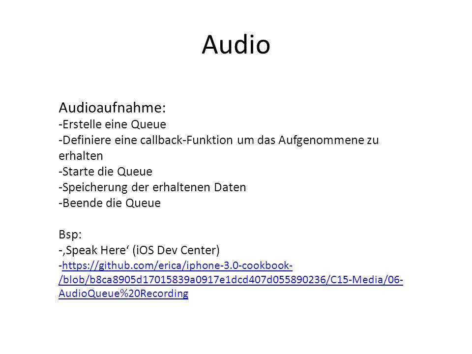 Audio Audioaufnahme: -Erstelle eine Queue -Definiere eine callback-Funktion um das Aufgenommene zu erhalten -Starte die Queue -Speicherung der erhalte