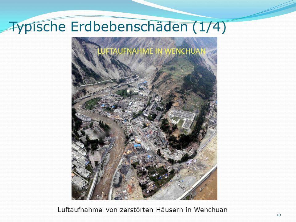 Typische Erdbebenschäden (1/4) Luftaufnahme von zerstörten Häusern in Wenchuan 10