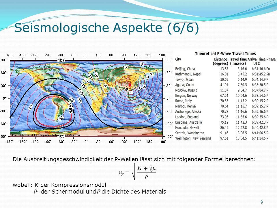 Seismologische Aspekte (6/6) Die Ausbreitungsgeschwindigkeit der P-Wellen lässt sich mit folgender Formel berechnen: wobei : K der Kompressionsmodul d
