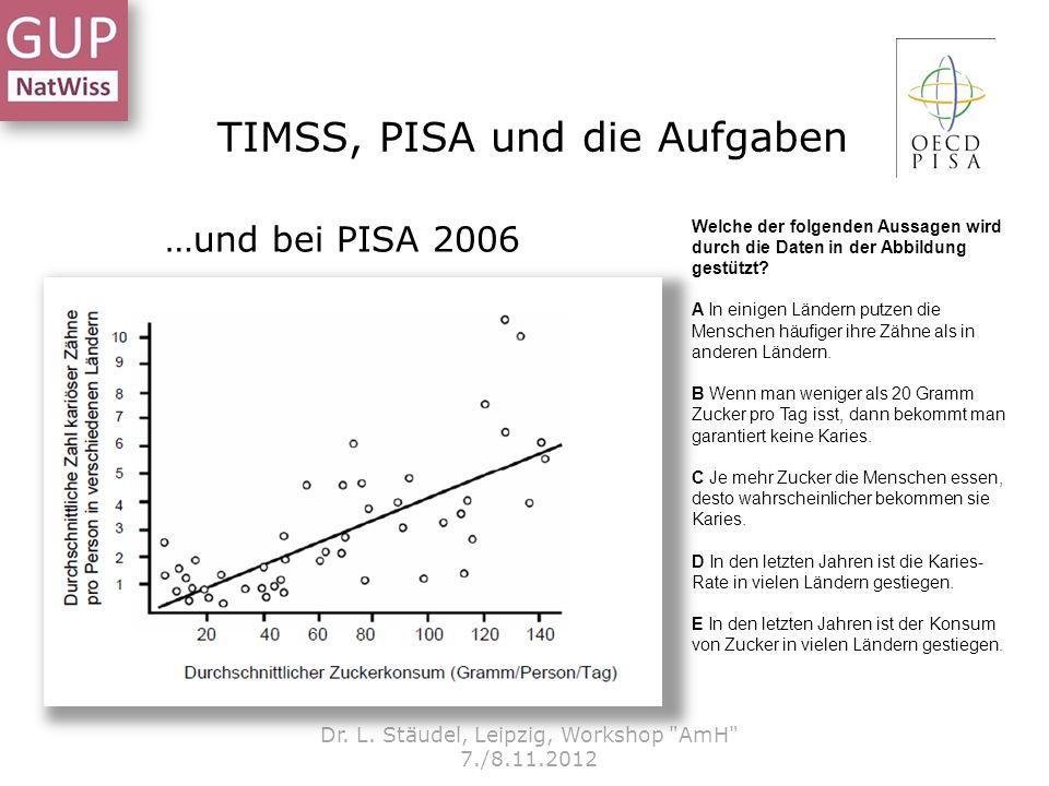 TIMSS, PISA und die Aufgaben Dr. L. Stäudel, Leipzig, Workshop