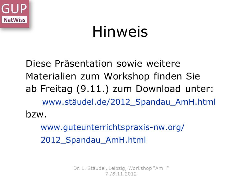 Hinweis Diese Präsentation sowie weitere Materialien zum Workshop finden Sie ab Freitag (9.11.) zum Download unter: www.stäudel.de/2012_Spandau_AmH.ht