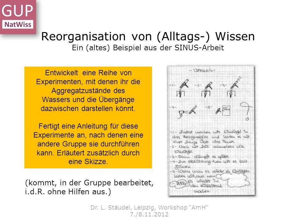 Reorganisation von (Alltags-) Wissen Ein (altes) Beispiel aus der SINUS-Arbeit Dr. L. Stäudel, Leipzig, Workshop