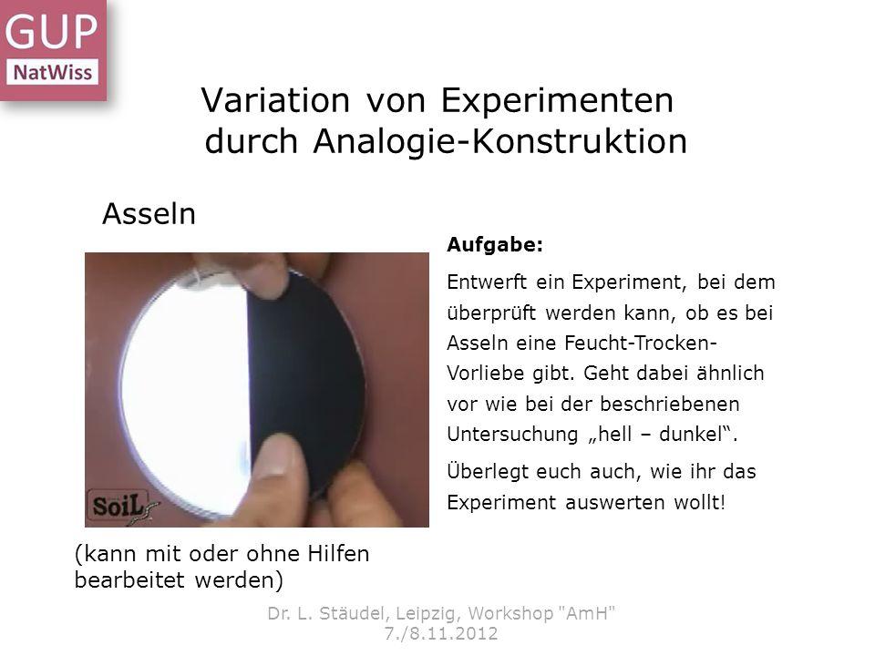 Variation von Experimenten durch Analogie-Konstruktion Dr. L. Stäudel, Leipzig, Workshop