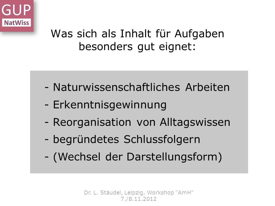 Was sich als Inhalt für Aufgaben besonders gut eignet: Dr. L. Stäudel, Leipzig, Workshop