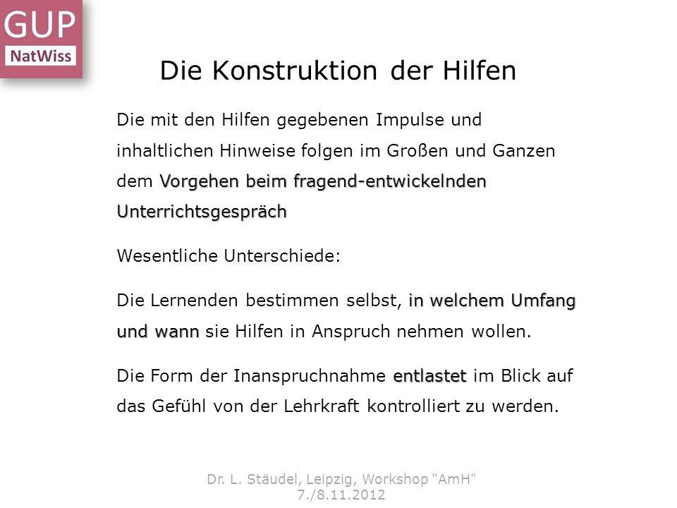 Die Konstruktion der Hilfen Dr. L. Stäudel, Leipzig, Workshop