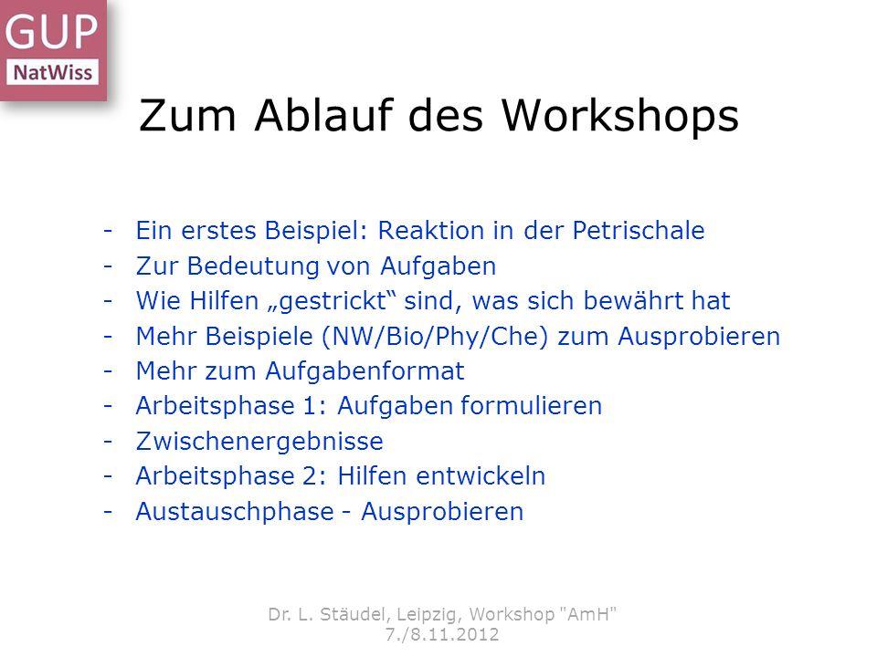 Zum Ablauf des Workshops -Ein erstes Beispiel: Reaktion in der Petrischale -Zur Bedeutung von Aufgaben -Wie Hilfen gestrickt sind, was sich bewährt ha