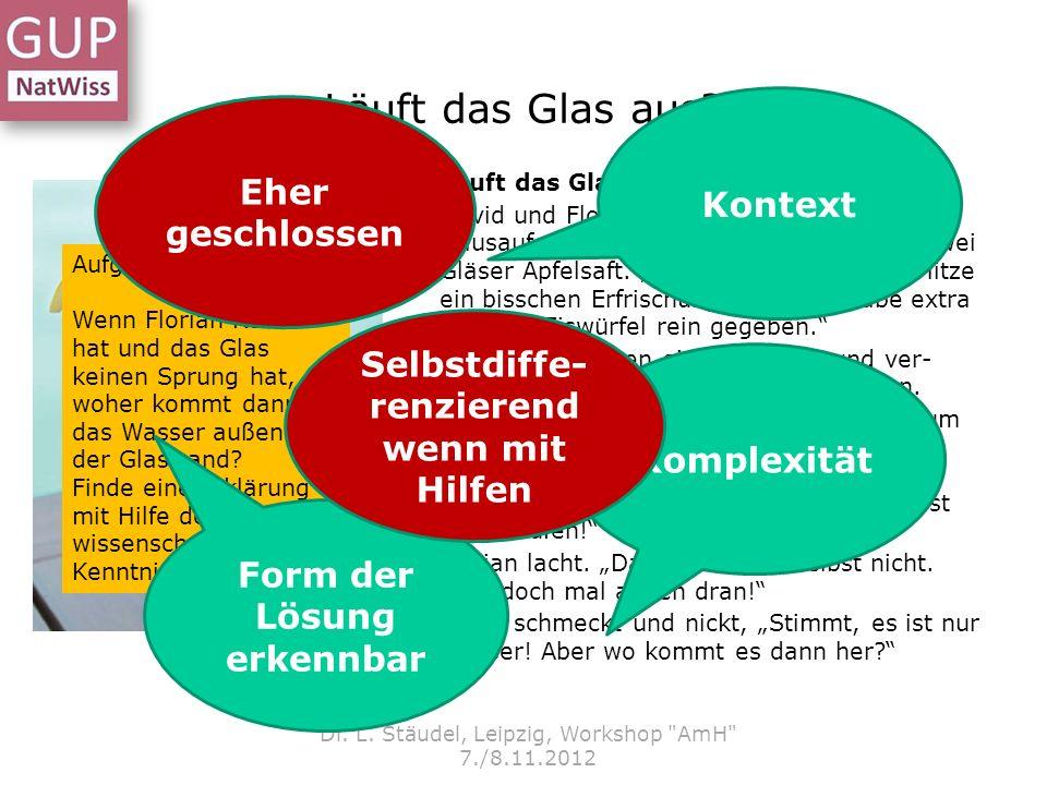 Läuft das Glas aus? Dr. L. Stäudel, Leipzig, Workshop