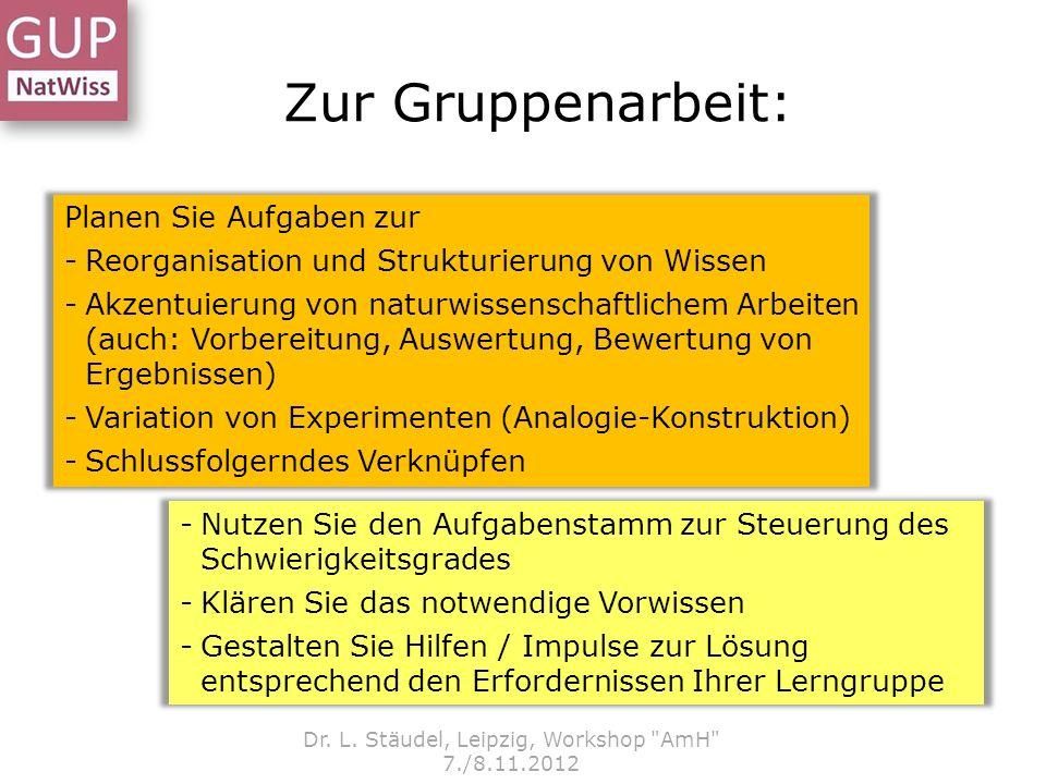 Zur Gruppenarbeit: Dr. L. Stäudel, Leipzig, Workshop