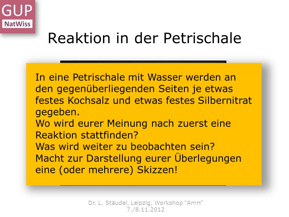 Reaktion in der Petrischale Dr. L. Stäudel, Leipzig, Workshop