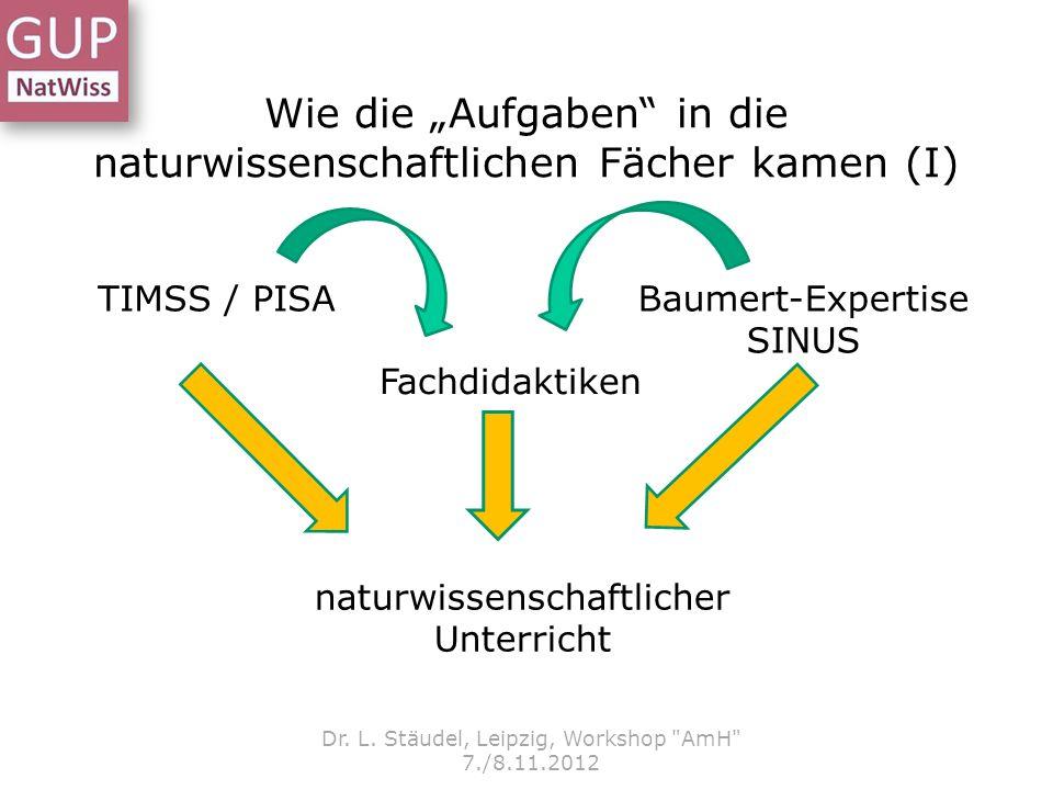 Wie die Aufgaben in die naturwissenschaftlichen Fächer kamen (I) Dr. L. Stäudel, Leipzig, Workshop