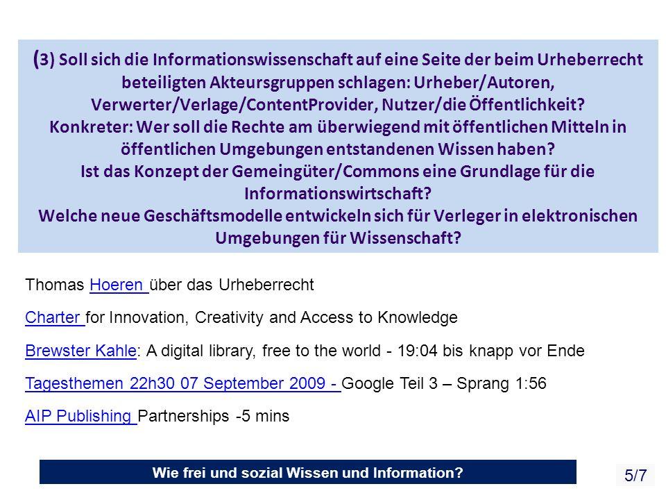 Wie frei und sozial Wissen und Information.