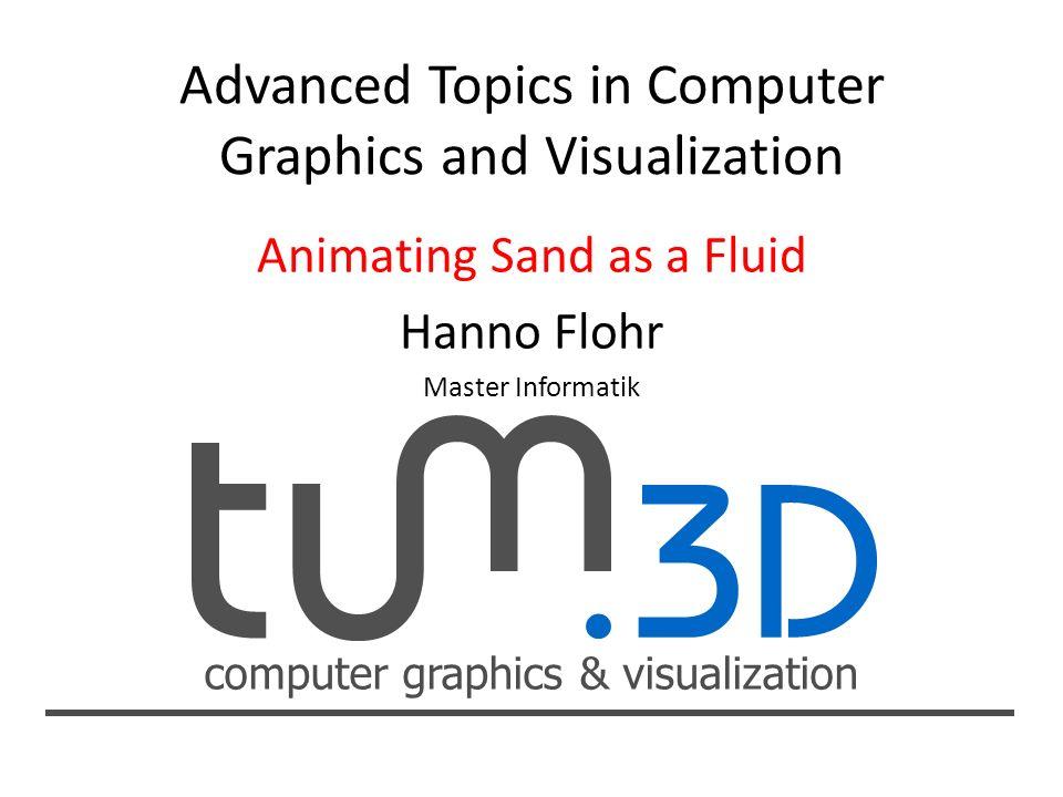 computer graphics & visualization Gliederung Grundlagen Fluidsimulation Grundlagen Fluidsimulation mit Gittern mit Gittern mit Partikeln mit Partikeln Animation von Sand als Fluid Animation von Sand als Fluid Fluidsimulation Fluidsimulation Modellierung des Sands Modellierung des Sands Oberflächenrekonstruktion mit Partikeln Oberflächenrekonstruktion mit Partikeln