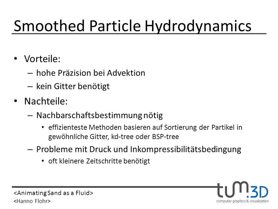 computer graphics & visualization Smoothed Particle Hydrodynamics Vorteile: – hohe Präzision bei Advektion – kein Gitter benötigt Nachteile: – Nachbar