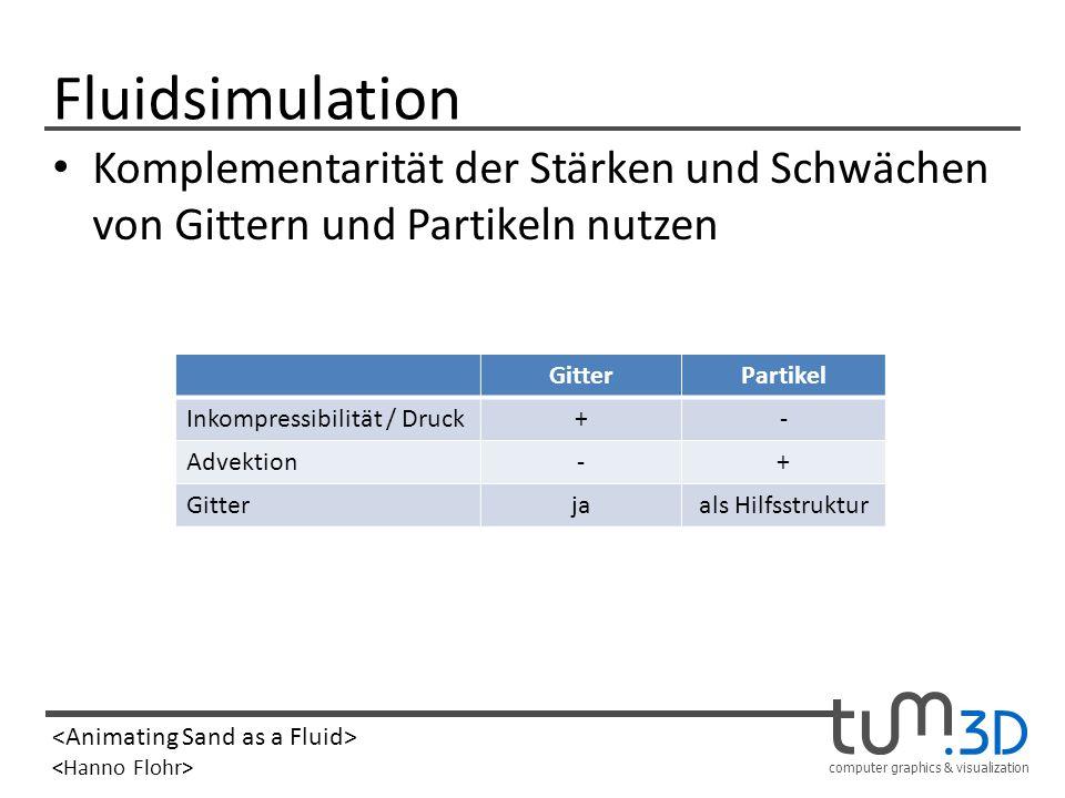 computer graphics & visualization Fluidsimulation Komplementarität der Stärken und Schwächen von Gittern und Partikeln nutzen GitterPartikel Inkompres