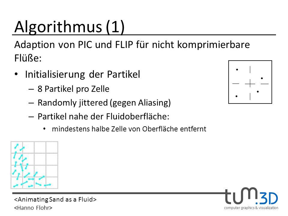 computer graphics & visualization Algorithmus (1) Adaption von PIC und FLIP für nicht komprimierbare Flüße: Initialisierung der Partikel – 8 Partikel