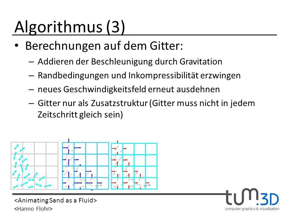 computer graphics & visualization Algorithmus (3) Berechnungen auf dem Gitter: – Addieren der Beschleunigung durch Gravitation – Randbedingungen und I