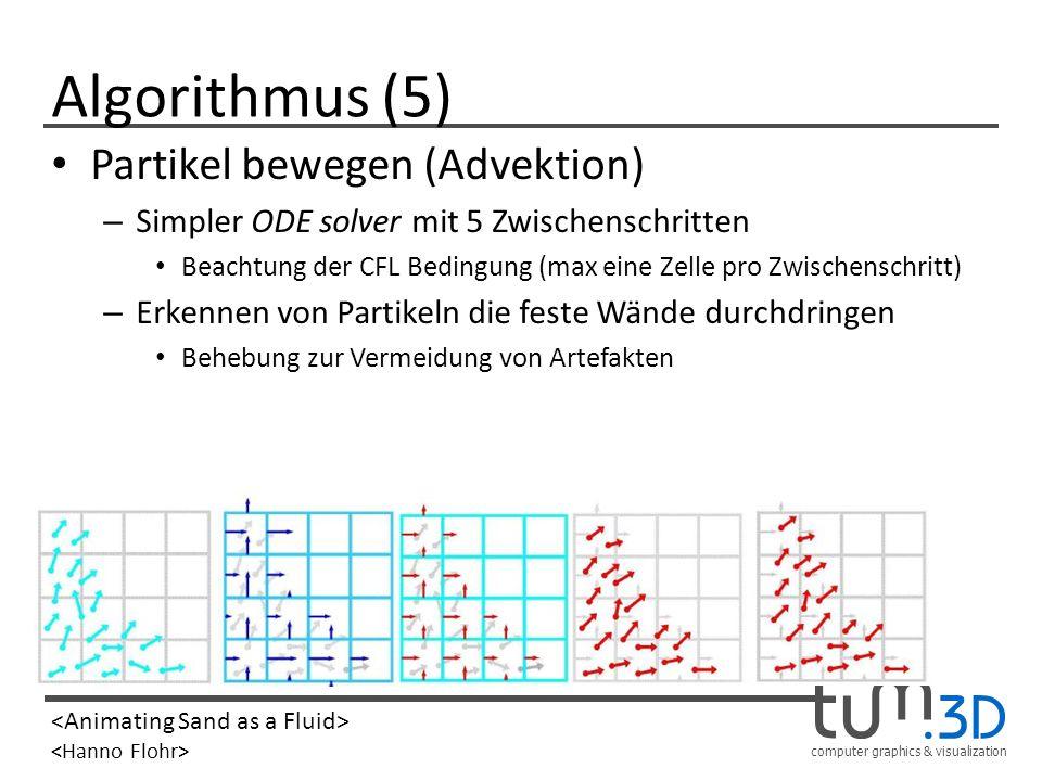 computer graphics & visualization Algorithmus (5) Partikel bewegen (Advektion) – Simpler ODE solver mit 5 Zwischenschritten Beachtung der CFL Bedingun