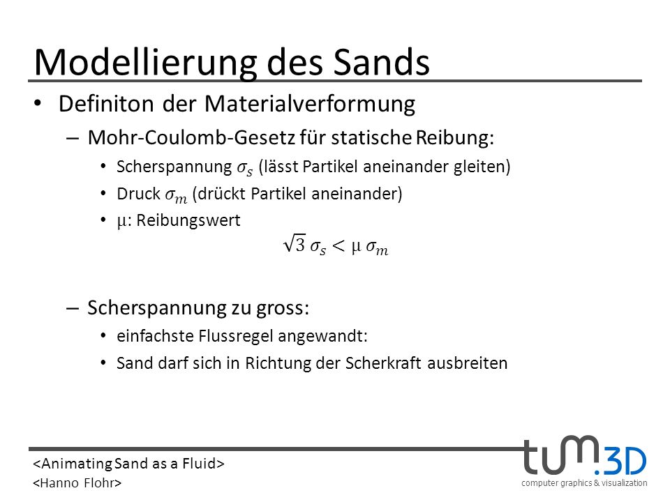 computer graphics & visualization Modellierung des Sands