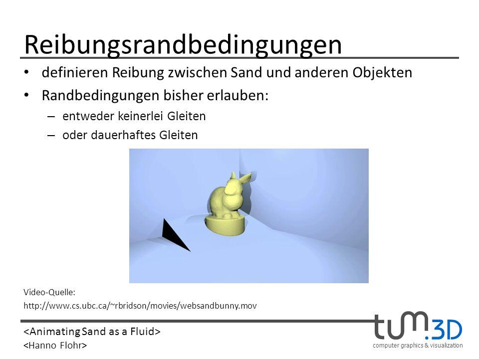 computer graphics & visualization Reibungsrandbedingungen definieren Reibung zwischen Sand und anderen Objekten Randbedingungen bisher erlauben: – ent
