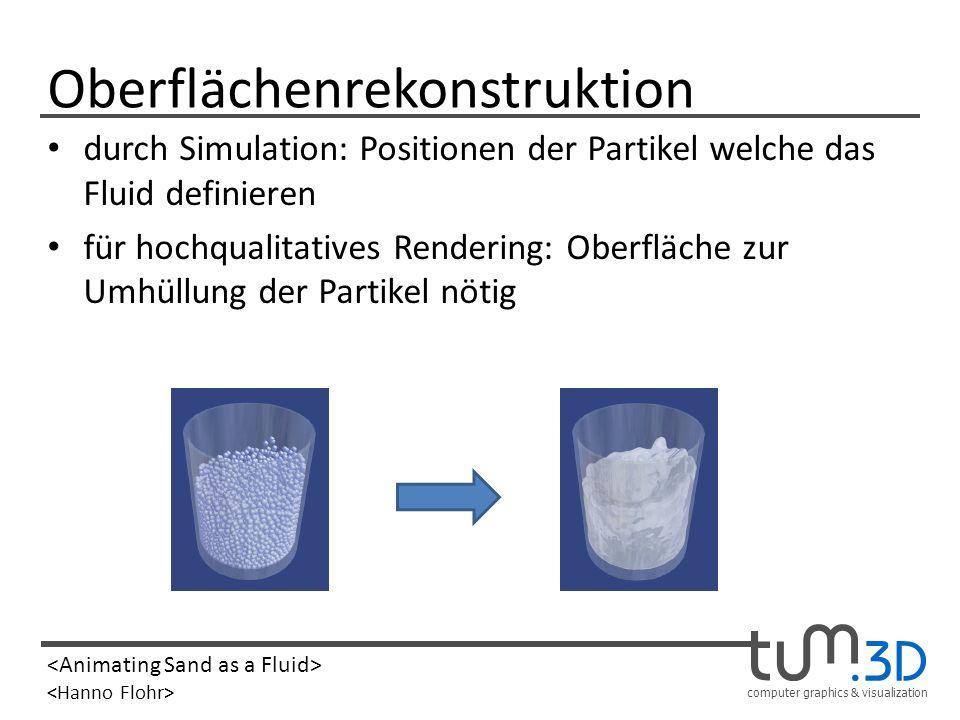 computer graphics & visualization Oberflächenrekonstruktion durch Simulation: Positionen der Partikel welche das Fluid definieren für hochqualitatives