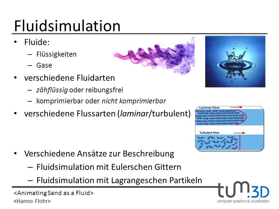 computer graphics & visualization Fluidsimulation Fluide: – Flüssigkeiten – Gase verschiedene Fluidarten – zähflüssig oder reibungsfrei – komprimierba
