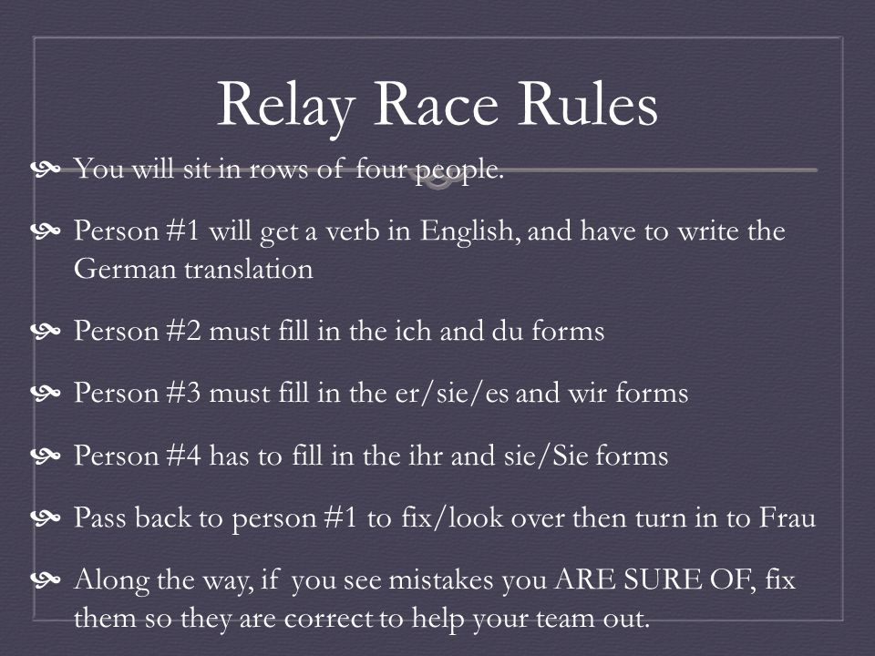 Verb Conjugation Relay Race To play To have To be To come To swim To hear/listen