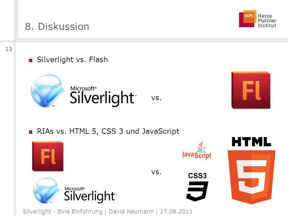 8. Diskussion Silverlight vs. Flash RIAs vs. HTML 5, CSS 3 und JavaScript Silverlight - Eine Einführung | David Neumann | 27.06.2011 13 vs.