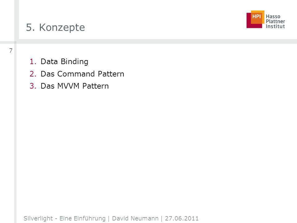 5. Konzepte 1.Data Binding 2.Das Command Pattern 3.Das MVVM Pattern Silverlight - Eine Einführung | David Neumann | 27.06.2011 7