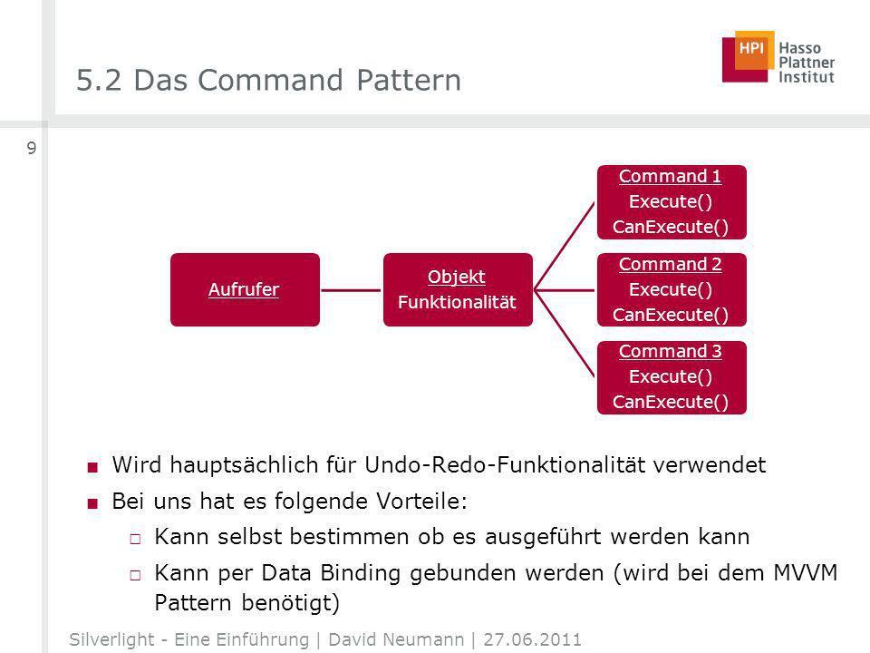 5.2 Das Command Pattern Wird hauptsächlich für Undo-Redo-Funktionalität verwendet Bei uns hat es folgende Vorteile: Kann selbst bestimmen ob es ausgeführt werden kann Kann per Data Binding gebunden werden (wird bei dem MVVM Pattern benötigt) Silverlight - Eine Einführung | David Neumann | 27.06.2011 9 Aufrufer Objekt Funktionalität Command 1 Execute() CanExecute() Command 2 Execute() CanExecute() Command 3 Execute() CanExecute()