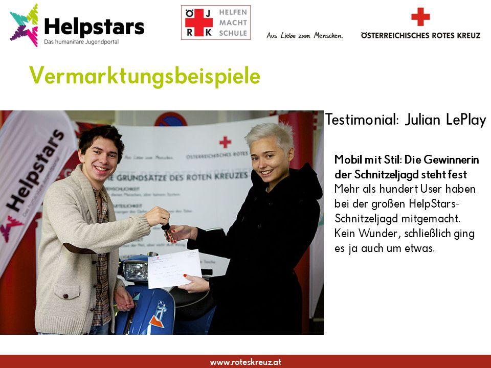 www.roteskreuz.at Vermarktungsbeispiele Mobil mit Stil: Die Gewinnerin der Schnitzeljagd steht fest Mehr als hundert User haben bei der großen HelpStars- Schnitzeljagd mitgemacht.